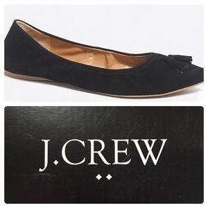 J Crew Suede Stretch Tassel Flats